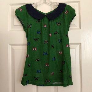 Anthropologie XS green cotton butterflies shirt